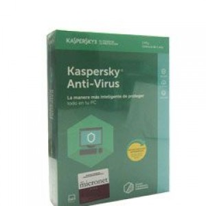 Software Kaspersky Anti-Virus, 3 PC, licencia 1 año.