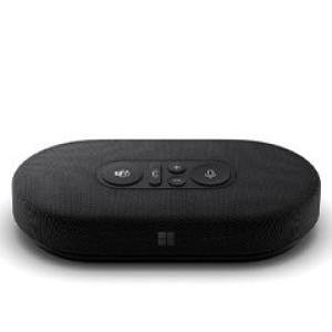 Microsoft Modern USB-C Speaker Con botones fáciles de usar, incluido el control de silencio con luz de estado para ver fácilmente si puede ser escuchado. El micrófono omnidireccional con redu