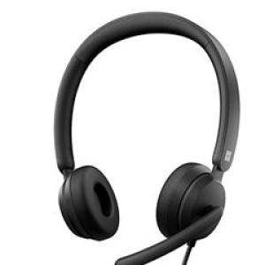 Headset Microsoft Modern USB con microfono con cancelacion de ruido, USB Tipo-A. Botones de control de volumen +/-, de llamada de Windows Live, de prendido y apagado del microfono, de Microso