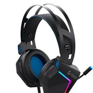 Auriculares Gaming TEROS TE-8150N estéreo, micrófono, conector 3.5mm y USB, Luces RGB Controlador dinámico de 50 mm, impedancia de 21 ohm, Sensibilidad de auriculares 110dB (+/-3dB), microfon