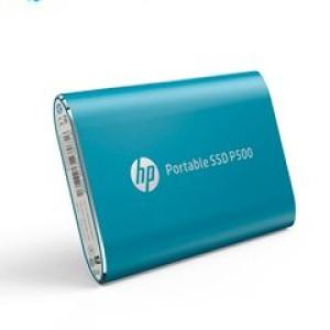 Disco duro externo estado sólido HP P500, 500GB, Blue, USB 3.1 Tipo-C. Velocidad de lectura: 380 Mbps, velocidad de escritura: 200 Mbps.