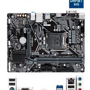Motherboard Gigabyte H410M H (rev. 1.0) LGA1200, DDR4, SATA 6.0Gb/s, USB 3.2 Soporta procesadores de 10ma Generación Intel Core i9 / i7 / i5 / i3 / Pentium / Celeron, 2 ranuras DDR4 2933 / 26