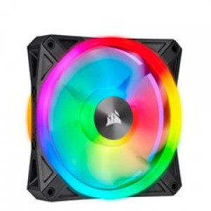 Fan Corsair QL120 RGB, 12 cm, 525 - 1500 ±10% RPM, 6V - 13.2V, PWM Control. Airflow: 41.8 CFM, presión de aire: 1.55 mm-H2O, nivel de ruido: 26 dBA, fan tipo Hidraulico.