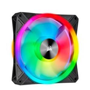 Fan Corsair QL140 RGB, 14 cm, 550 - 1250 ±10% RPM, 6V - 13.2V, PWM Control. Airflow: 50.2 CFM, presión de aire: 1.4 mm-H2O, nivel de ruido: 26 dBA, fan tipo Hidraulico.