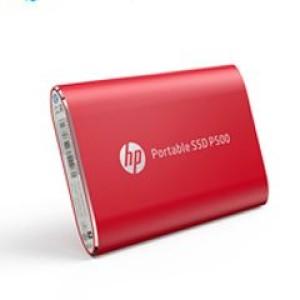 Disco duro externo estado sólido HP P500, 500GB, Rojo, USB 3.1 Tipo-C. Velocidad de lectura: 380 Mbps, velocidad de escritura: 200 Mbps.