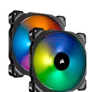 Fan Corsair Dual ML140 Pro RGB LED 14 cm, 400 - 1200 RPM, 10.8V - 13.2V, PWM Control. Airflow: 55.40 CFM, presión de aire: 1.27 mm-H2O, nivel de ruido: 20.4 dBA, fan tipo Levitacion magnetica