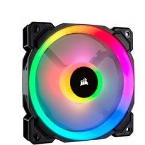 Fan Corsair LL120 RGB , 12 cm, 1500 RPM, 12 VDC, 4 pines, PWM Control. Airflow: 43.25 CFM, presión de aire. 1.61 mm-H2O, nivel de ruido: 24.8 dBA, fan tipo Hidraulico.