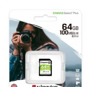 SDXC Kingston Canvas Select Plus - 64GB - Class 10/UHS-I (U1) - 1 Paquete(s) - 100MB/s Leer