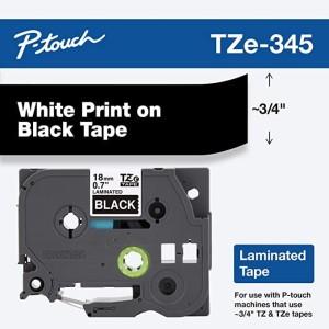 "CINTA BROTHER TZE-345 WHITE ON BLACK 3/4"" (18MM)"