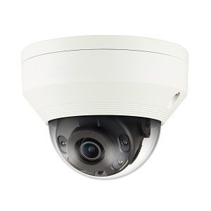 WISENET Q NETWORK OUTDOOR VANDAL DOME CAMERA 2MP 30FPS 2.8MM FIXED FOCAL LENS (113°) 120DB WDR IR LEDS RANGE 65' ONE WAY AUDIO AND SD CARD VIDEO ANALYTICS CVBS OPEN PLATFORM IP66 IK10 POE