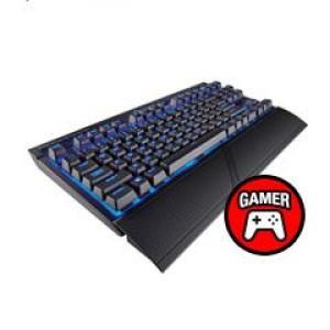 Teclado Gamer Wireless Corsair K63, mecánico Cherry MX, Multimedia, Bluetooth, USB. Conexion Wireless Bluetooth y USB, retro-iluminación en color Azul, interruptores mecánicos Cherry MX Red,
