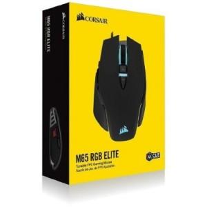Mouse óptico Corsair M65 RGB Elite FPS Gaming, 18 000 dpi, USB, 9 botones, Negro. Sensor óptico Pixart PMW3391 de hasta 18000 DPI, 2 zonas con iluminación RGB, cable de 1.8 mts, botón lateral