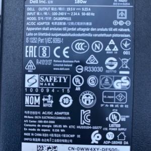 Dell 180 watt AC Adapter WW4XY Alienware M14x M15x M17x R3 M17x R4