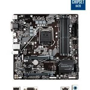 Motherboard Gigabyte B460M DS3H V2 (rev. 1.0) LGA1200, VGA, DVI-D, HDMI, USB 3.2 Gen 1 Soporta procesadores de 10ma Generación Intel Core i9 / i7 / i5 / i3 / Pentium Gold / Celeron, 4 ranuras