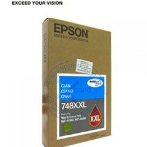 Epson T748XXL Cartucho de Tinta Color Cyan DuraBrite Pro de alta capacidad extra. Presentación en caja.