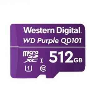 Memoria Flash WD Purple 512GB SC QD101 microSD, ideal para Camaras de videovigilancia. Factor de forma: microSDXC. Clase de velocidad 10 / 1 UHS (U1). Con tecnologia 3D NAND avanzada de 96 ca