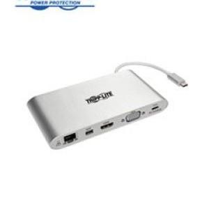 Estación de Conexión Tripp-Lite U442-DOCK1, USB-C a HDMI, VGA, mDP, USB, LAN, SD, Audio. Recomendado para conectar una pantalla externa, acceder a Gigabit Ethernet, transferir datos y mostrar