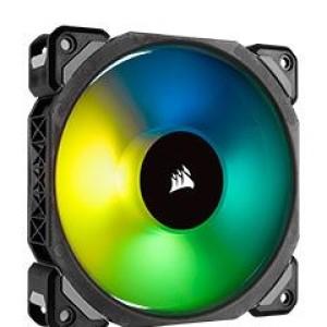 Fan Corsair ML140 Pro RGB Led, 14 cm, 1200 RPM, 13.2 VDC, 4 pines, PWM Control. Airflow: 55.4 CFM, presión de aire. 1.27 mm-H2O, nivel de ruido: 20.4 dBA, fan tipo ,Levitaciòn Magnetica.